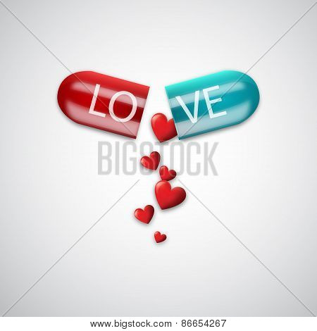 Love capsule. Vector illustration