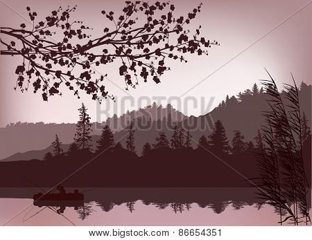 illustration with fishermen and boat silhouette near mountain forest