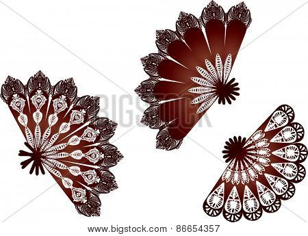 illustration with decorated fan silhouettes isolated on white background