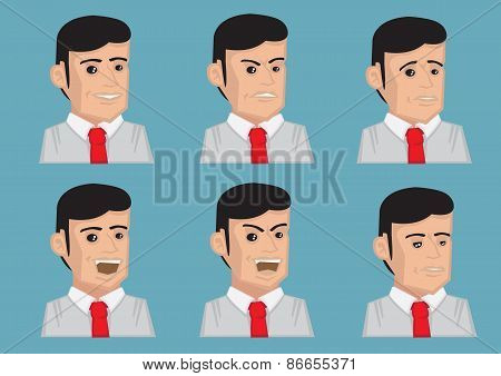 Men Facial Expressions Vector Illustration