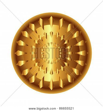 Golden light circular radial geometric dynamic shapes for technology and science