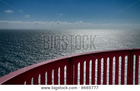 View Over The Ocean With Handrail