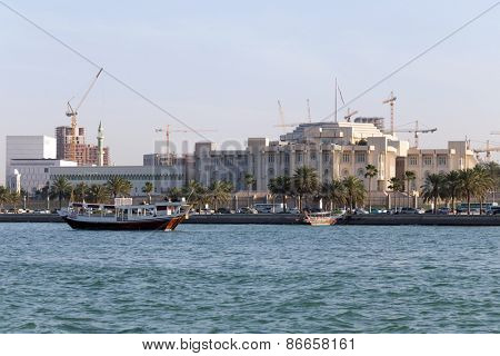 A view of Qatar's Emiri Diwan, the ruler's administrative palace in the heart of Doha, with cranes behind it building the new railway system.