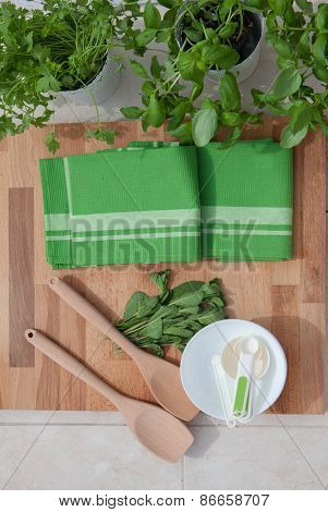 fresh herbs ingredients  for food preparation
