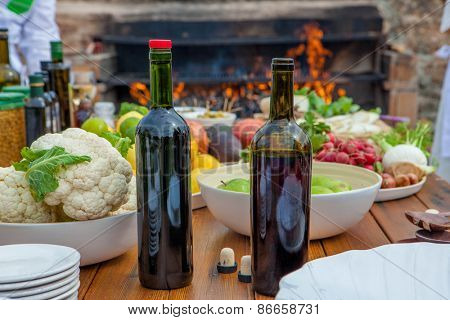 Mediterranean kitchen and cooking ingredients and red wine