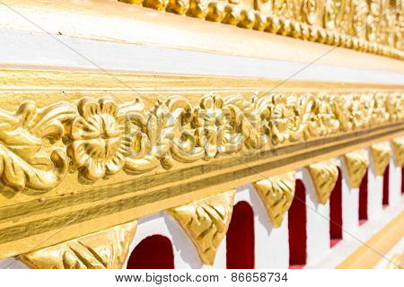Gold Tracery Decoration On Buddhist Temple Wall