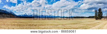 Bavarian Alps countryside landscape panorama. Bavaria, Germany