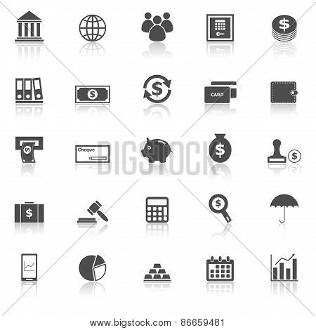 Banking Icons With Reflect On White Background