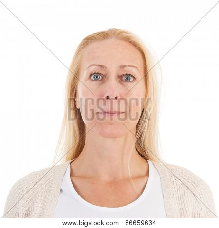 Blond woman of mature age in portrait isolated over white background