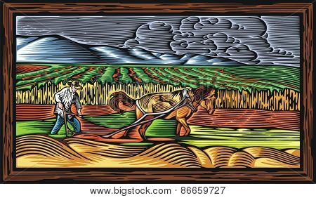 Vector illustration of a farmer, ploughing the land with a horse, done in retro woodcut style.
