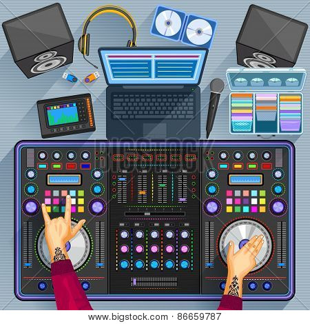 Working table of music disco jockey