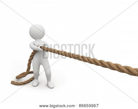 3D Small Person Pulls A Rope