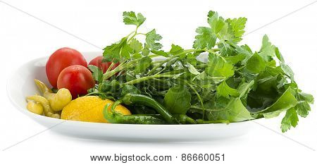Side salad  traditionally served with kebab isolated on white background.