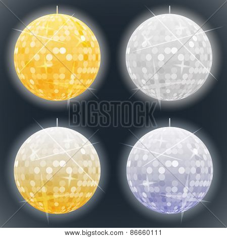 Vector Silver And Golden Disco Balls