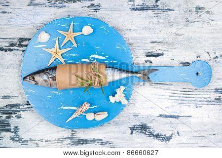 Mediterranean Seafood Background.