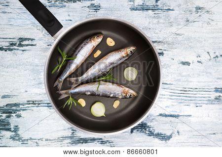 Raw Fish On Pan