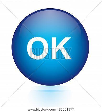 ok blue circular button