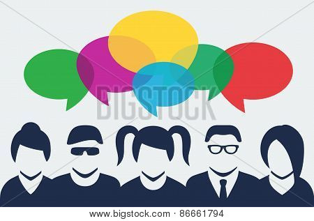 Vector People Silhouettes With Colorful Dialog Speech Bubbles Above
