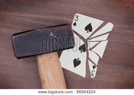 Hammer With A Broken Card, Three Of Spades