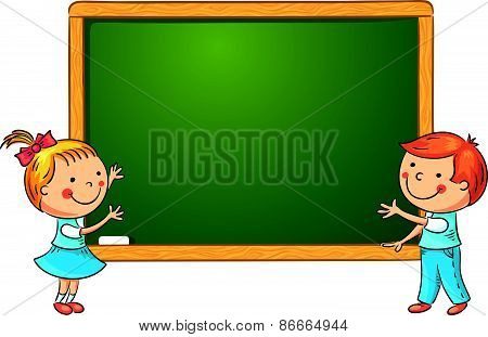 Cartoon Schoolchildren at the Blackboard