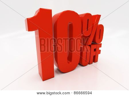 10 percent off. Discount 10. 3D illustration