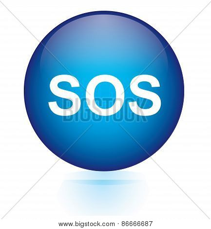 SOS blue circular button