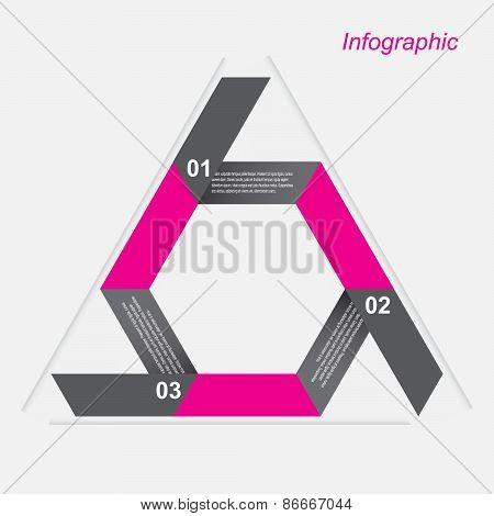 Infographic design template in the form of a triangle, with arrows.