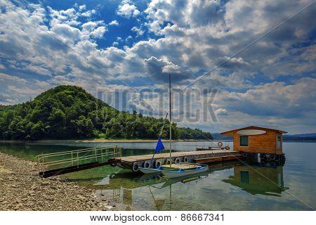 boat in pier on sammer lake