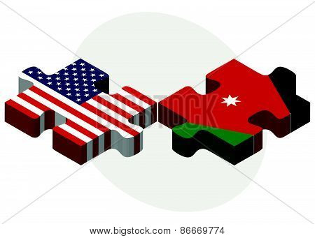 Usa And Jordan Flags In Puzzle