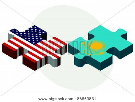 Usa And Kazakhstan Flags In Puzzle