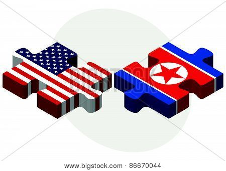 Usa And North Korea Flags In Puzzle