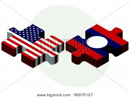 Usa And Laos Flags In Puzzle