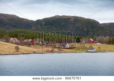 Norwegian Small Village, Wooden Houses And Barns