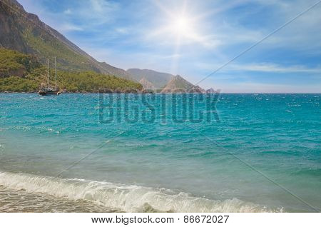 Seascape, Blue Sky And Mountainous Coast
