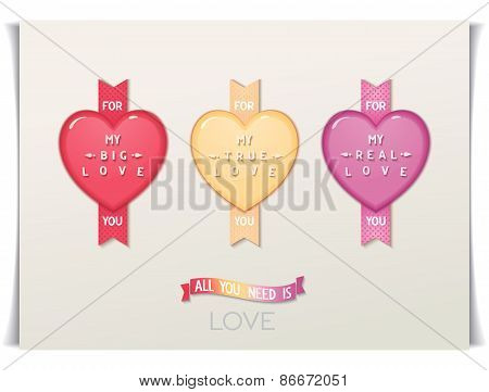Three icon hearts with a message