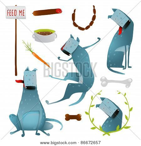Feeding Happy Hungry Dogs Healthy Diet Clip Art Collection