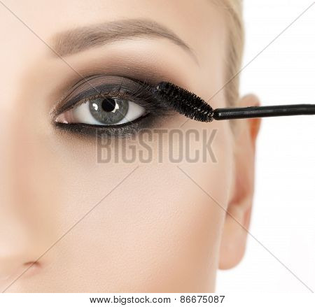 Woman long eyelashes