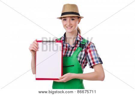 A female gardener isolated on white