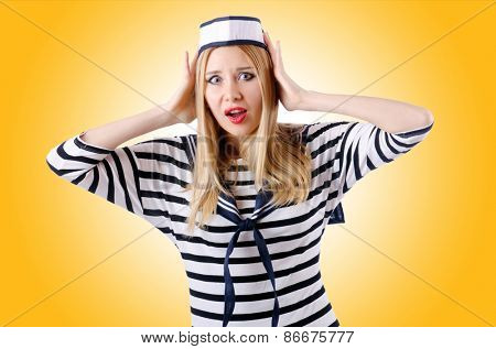 Woman sailor isolated on the white background