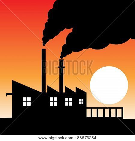 Factory silhouette air pollution