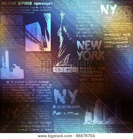 Pattern New York on blurred background.