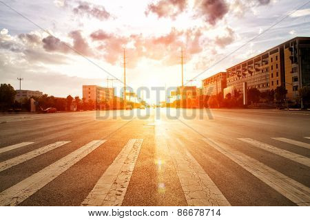 skyline,road and building at sunset.