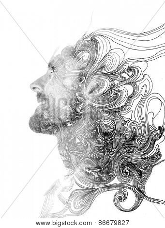 Double exposure portrait of attractive man combined with hand drawing