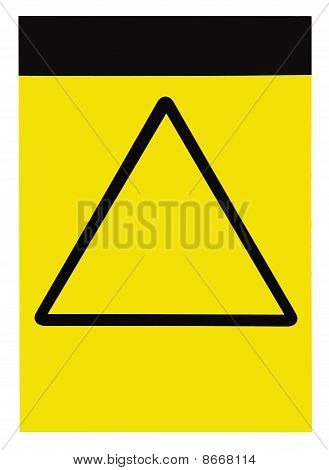 Blank Yellow Black Triangle General Caution Warning Attention Sign, Isolated