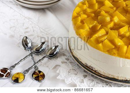 cheese cake with yogurt and peaches