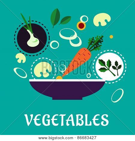Flat vegetarian salad with fresh vegetables