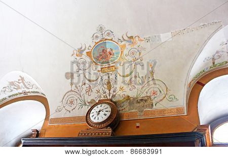 Ceiling And Clock In Pharmacy-museum In Lviv, Ukraine