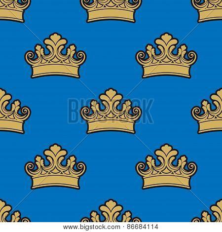 Victorian golden crowns seamless pattern