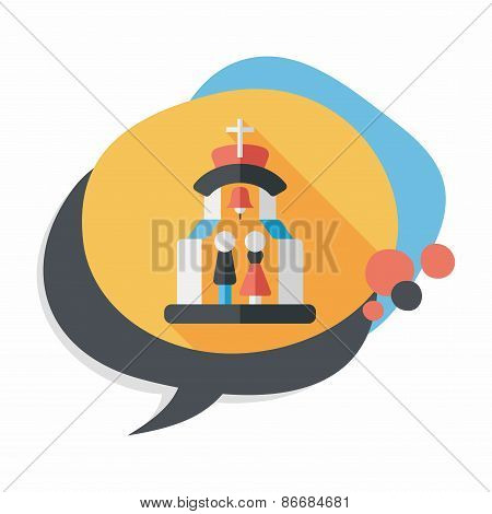 Wedding Ceremony In Chruch Flat Icon With Long Shadow,eps10