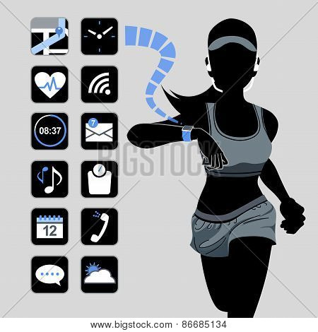 Smart Watch Concept - Fitness Woman And Icons